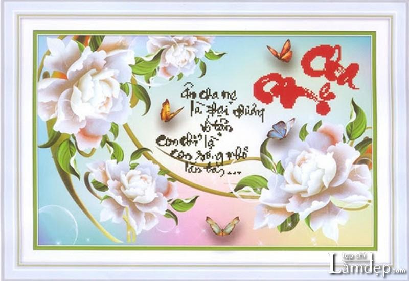Tranh thêu chữ thập cha mẹ hoa mẫu đơn trắng