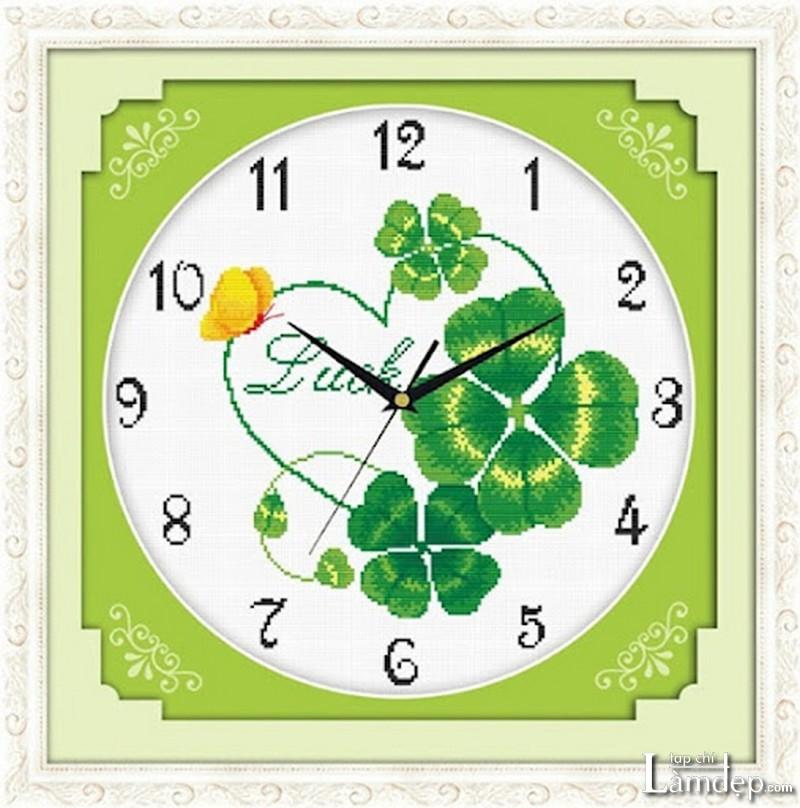 Tranh thêu chữ thập đồng hồ cỏ 4 lá