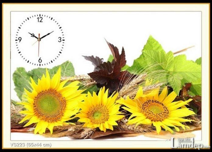 Tranh thêu chữ thập đồng hồ hoa hướng dương