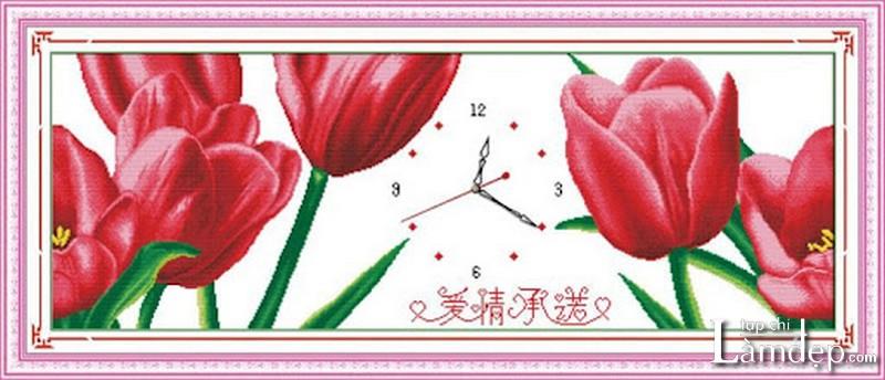 Tranh thêu chữ thập đồng hồ hoa tulip