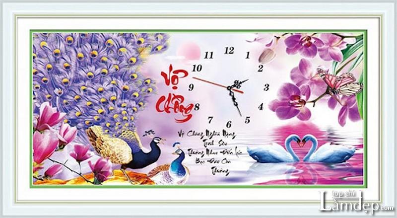 Tranh thêu chữ thập đồng hồ vợ chồng