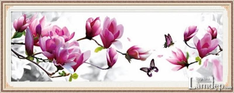 Tranh thêu chữ thập hoa lan