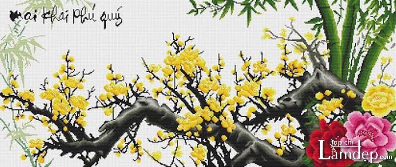 Tranh thêu chữ thập hoa mai vàng