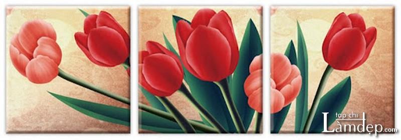 Tranh thêu chữ thập hoa tulip